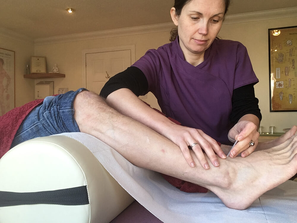 Lucy working on treating a person's leg